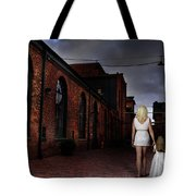 Woman Walking Away With A Child Tote Bag