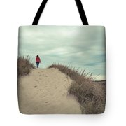 Woman Walking In The Dunes Of Cape Cod Tote Bag
