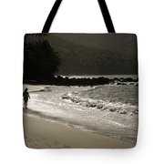 Woman Walking On A Deserted Beach Tote Bag