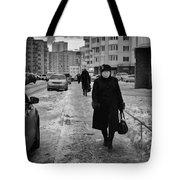 Woman Walking On Path In Russia Tote Bag
