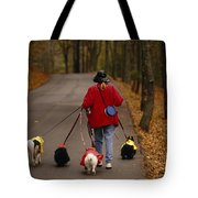 Woman Walks Her Army Of Dogs Dressed Tote Bag