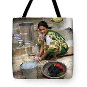 Woman Washing Clothes In Khajuraho Village Tote Bag