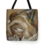 Woman Washing Her Back With A Sponge Tote Bag by Edgar Degas