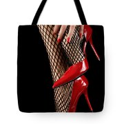Woman Wearing Red Sexy High Heels Tote Bag