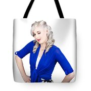 Woman Winking Eye In Lashes. Retro Makeup Style Tote Bag