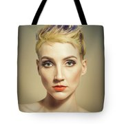Woman With A Funky Hairstyle Tote Bag