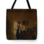 Woman With A Water Pitcher And A Man By A Bed The Maidservant Tote Bag