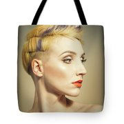 Woman With An Edgy Hairstyle Tote Bag