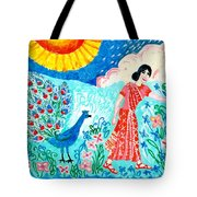 Woman With Apple And Peacock Tote Bag by Sushila Burgess