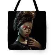 Woman With Beehive Hairstyle And Jewelry Headdress Tote Bag