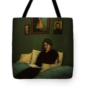 Woman With Book  Tote Bag