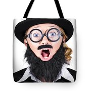 Woman With Fake Beard And Mustache Screaming Tote Bag