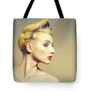 Woman With Funky Hairstyle Tote Bag
