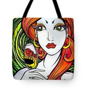 Woman With Glass Tote Bag