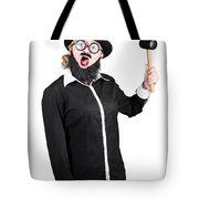 Woman With Male Costume Holding Mallet Tote Bag