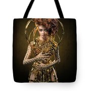 Woman With Messy Curl Updo In Golden Attire Tote Bag