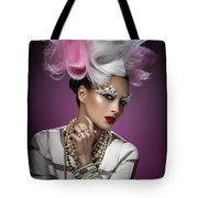 Woman With Pink And White Headpiece In White Dress Tote Bag