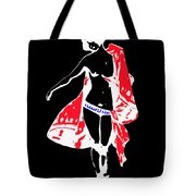Woman With Red Cape - And Not Much Else Tote Bag