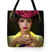 Woman With Red Flower Headdress Tote Bag