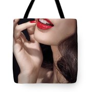 Woman With Red Lipstick Closeup Of Sensual Mouth Tote Bag