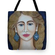 Woman With Silver Earrings Tote Bag