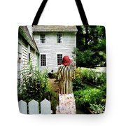Woman With Striped Jacket And Flowered Skirt Tote Bag