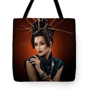 Woman With Twig Headdress And Oriental Look Tote Bag