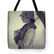 Woman With Vintage Cloche Hat Overcoat And Umbrella In Rain Tote Bag
