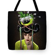 Woman With Yellow Dress With Feather And Leaf Headdress Tote Bag