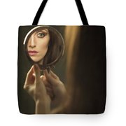 Woman's Face In The Mirror Tote Bag