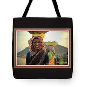 Women Carrying Goods On Their Heads H A With Decorative Ornate Printed Frame. Tote Bag
