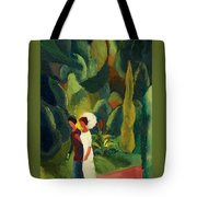 Women In A Park With A White Parasol Tote Bag