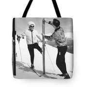 Women Waxing Skis Tote Bag