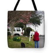 Women With Her Dog Tote Bag