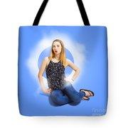 Womens Fashion Pinup Model On Blue Studio Lights Tote Bag
