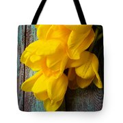 Wonderful Yellow Tulips With Dew Tote Bag