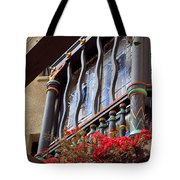 Wood Beams Red Flowers And Blue Window Tote Bag