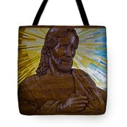 Wood Carving Of Jesus Tote Bag