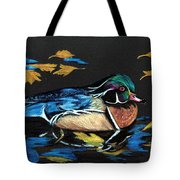 Wood Duck And Fall Leaves Tote Bag
