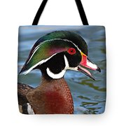 Wood Duck Drake Calling In Spring Courtship Tote Bag