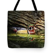 Wood Duck In Wood Tote Bag