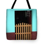 Wood Gate In A Door Tote Bag