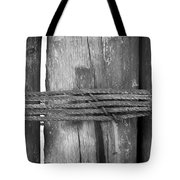 Wood Pilings Tied With Old Rusted Rope Tote Bag