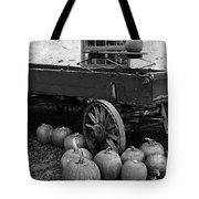 Wood Wagon And Pumpkins Black And White Tote Bag