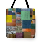 Wood With Teal And Yellow Tote Bag