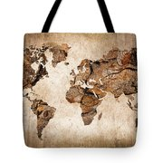 Wood World Map Tote Bag by Delphimages Photo Creations