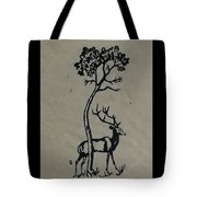 Woodcut Deer Tote Bag