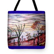 Wooded Beachfront With Fun Seekers Tote Bag