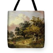 Wooded Landscape With Woman And Child Walking Down A Road  Tote Bag