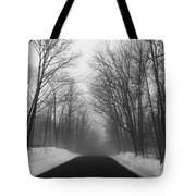 Wooded Winter Road Tote Bag